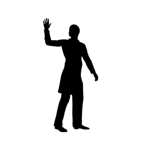 手を挙げているシルエット