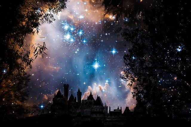 夜の綺麗な星空